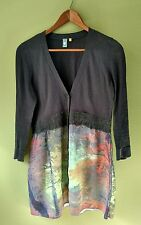 Knitted & Knotted Anthropologie Tunic Cardigan Top Gray Multi Sz S *READ Stain*