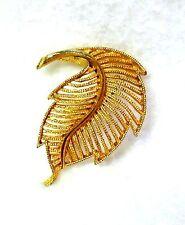 BSK Signed Art Deco Leaf Design Brooch by B.S.K.Goldtone Filigree 2-1/4 inch