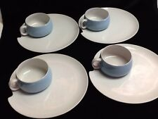 4 VINTAGE SNACK PLATES W/ BLUE & WHITE CUPS SOU-SAN BY ROSSINI  JAPAN BEAUTIFUL