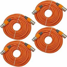 4 PACK ORANGE shielded 3 pin XLR audio mic microphone M/F audio cable 50 ft foot