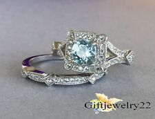 14K White Gold 1.78 Ct Bridal Aquamarine Halo Diamond Wedding Band Rings Sets