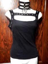 LIP SERVICE RARE STRAPS OF MERCY TANK TOP tee shirt black studded punk XS S 1B
