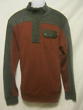 MARC ECKO Cut & Sew Mens 1/4 Zip Sweater,L/Large,Gray/Wine,Deadly Threads,Pocket