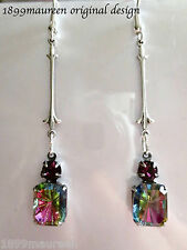 Art Deco Art Nouveau earrings vintage crystal vitrail drop LONG