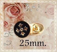 8 pcs. Metal button Gold & Black Maltese cross style Art buttons. size 25mm.