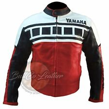 YAMAHA 6728 Red Motorbike Motorcycle Biker REAL Cowhide Leather Armoured Jacket