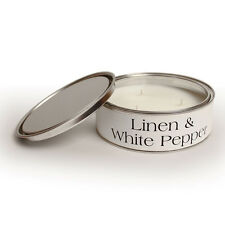 Pintail Candles Large 3 Wick Scented Candle Tin - Linen & White Pepper