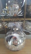 NIB S/6 LUXE HABITAT CRACKLED MERCURY GLASS KUGEL SILVER CHRISTMAS ORNAMENTS