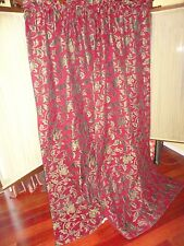 ALLEN AND ASSOCIATES RED BLACK GOLD FLORAL CHENILLE (PAIR) CURTAINS PANELS