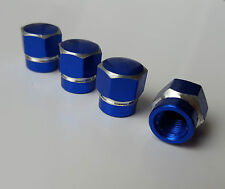 Blue BOLT Hex Alloy Metal Dust Valve Caps for Nissan 350Z 370Z Juke Qashqai Pixo