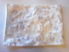 Cream With Silvler Embroidery Flowers Silk Christmas Table Runner  Decoration