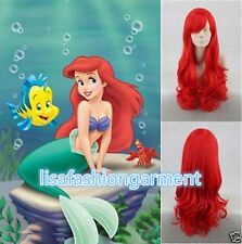 Little Mermaid Princess Ariel Red Wig Long Curly for Kids Children Adult COSPLAY