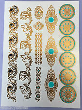 Inspired Temporary Metallic Tattoo Gold Silver Black Flash Tattoos necklace