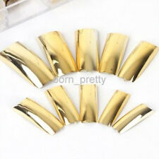 70pcs Shiny Electroplating Gold Color French False Fake Nail Art Tips w/Box