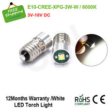 2x CREE 3V 6V 18V Lamp LED Bulb White MES E10 1447 Screw for Torch bike bicycle