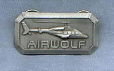 Airwolf TV Series Helicopter 3-D Relief Chest Metal Logo Pin, NEW UNUSED