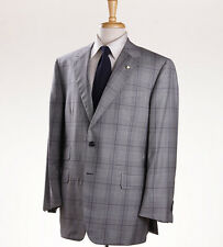 NWT Custom $4695 OXXFORD HIGHEST QUALITY Light Gray-Plum Check Wool Suit 44 R