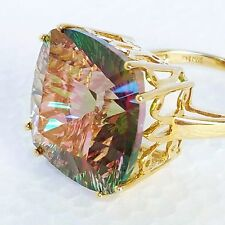 Womens 10k Solid Gold Ring Huge 29ct Genuine Mystic Topaz Victoria Wieck 8 3/4