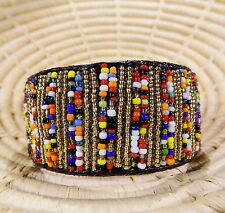 New African Maasai Wide Beaded Bangle Masai Massai jbmw124