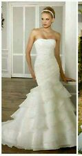 New white/ivory Mermaid Organza Bridal Wedding Dresses Size  6 8 10 12 14 16 +