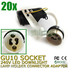 20 X GU10 240V LED Downlight Lamp Holder Socket Connector Adaptor Fixture Base