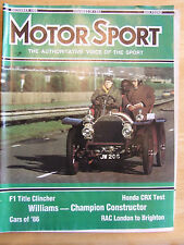 MOTOR SPORT DEC 1986 HONDA CRX TEST WILLIAMS CHAMPION CONSTRUCTOR RAC LONDON TO