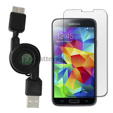 USB 3.0 Retract Micro Charger Cable+LCD Tempered Glass for Samsung Galaxy GS5 S5