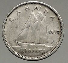 1940 CANADA King George VI - Silver 10 Cent SILVER Coin - BLUENOSE SHIP i56779