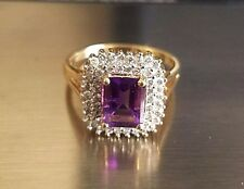 10K Yellow Gold (3.6 Grams) 1.50 Carat Amethyst & .50 Carat Diamonds Ring