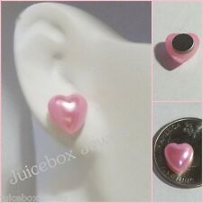 MAGNETIC Pink HEART Stud Fake Fun Clip-on Non-Pierced Adult 10mm Earrings #mag55
