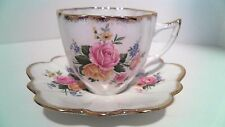 IMPERIAL BONE CHINA CUP AND SAUCER GOLD TRIM ENGLAND FLOWERS