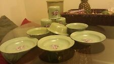 Enamel dinner ware set of 9, Purple, green, grey, Plates, Bowls, Cups