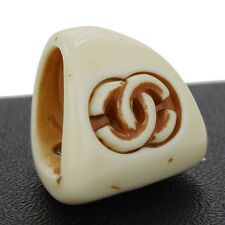 Authentic CHANEL CC Logos Ring Accessories Plastic # 6.5 France 01P 07Z440