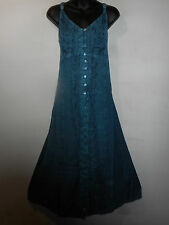 Dress Fits 1X Plus Teal Blue Button Down Front Sundress A Shaped Long NWT G228
