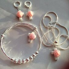 "PINK ROSE/CROSS 925 BANGLE&925 EARINGS/ster Sil 18"" Chain/girls/teenager/boxd"