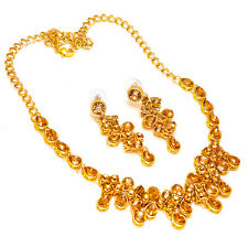 Necklace One Two Gram Gold Plated Kundan Pearl Polki Cz Ad Jade Jewelry Set 7313