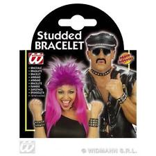 Studded Bracelet Leather Look Biker Hells Angel Halloween Fancy Dress Accessory