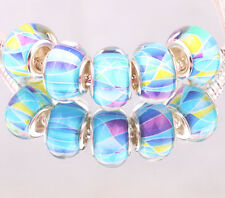 10PCS SILVER MURANO LAMPWORK charm beads fit European Bracelet wholesale AA033
