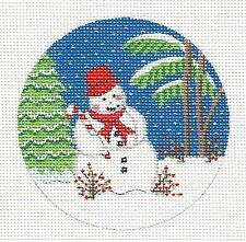 *NEW* Tropical Snowman and Palm Tree handpainted Needlepoint Canvas ~ Alexa