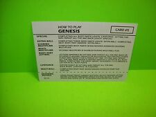 Gottlieb GENESIS Original 1986 NOS Flipper Pinball Machine Instruction Card #5/6
