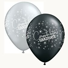 "25 x 11 ""Black & Silver Graduación Látex Globos Fiesta Ideal Decoración"