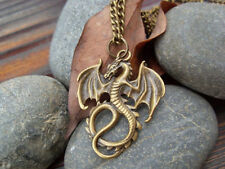 Bronze Dragons pendant necklace jewelry antique retro Handmade necklace