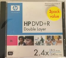 HP 3 Pack DVD+R DL Double Layer DVD Disk 8.5 GB 240 min Video 2.4X Disc