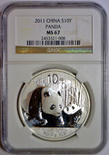 2011 10 Yuan 10Yn PANDA Silver CHINA NGC MS67 MS 67