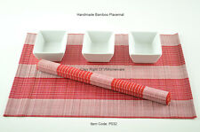 6 Handmade Bamboo Wood Placemats Table Mats, White - Red, P032
