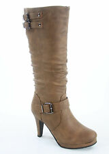 Women's Fashion Low Flat Heel Riding Mid-Calf Knee High Boot Shoes Size 5-10 New