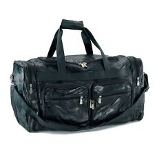 Black Leather Patchwork Leather Duffle Bag 23 1/2 Inches x 13 1/4 Inches x 12 In