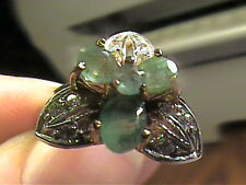 COLOMBIAN EMERALD natural RING 6 SILVER sterling 925 white GOLD flower SAPPHIRE