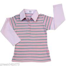 Girls Layered-Look Shirt with Collar Light Pink w/ Aqua Stripe # 5 Size 10 y/o