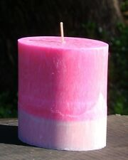 80hr Natural ACAI BERRY Modern Floral Triple Scented Artisan Pink Candle OVAL